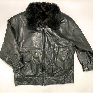 Andrew Marc Genuine Leather Fur Bomber Jacket